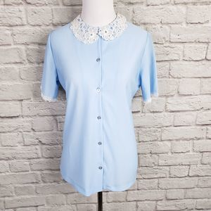 Vintage Baby Blue Short Sleeve Lace Collar Blouse